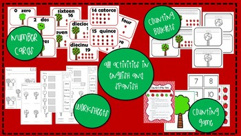 Apple Math Counting Unit in English and Spanish; Recognizing Numbers to 10 or 20