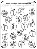 Apple Math Game Tally 10 Sided Dice Game Tally Mark Center Apple Math Centers