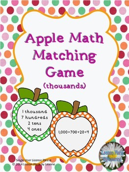 Standard to Expanded Form matching game (thousands)