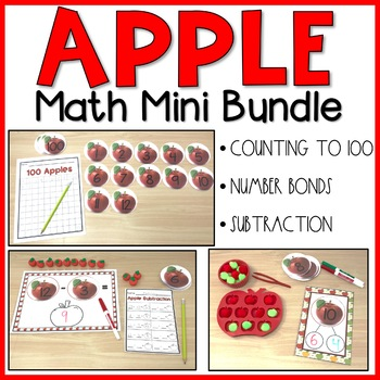 Apple Math Mini Bundle | Counting to 100, Number Bonds, Subtraction