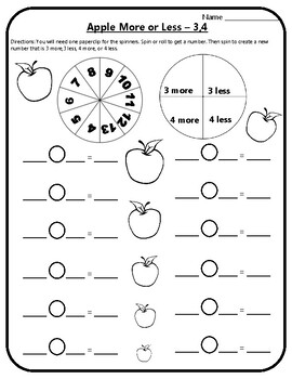 Apple Math More or Less Game Math Add 3 Subtract 3 Add 4 Subtract 4 Apples