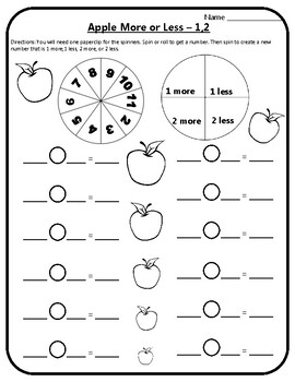 Apple Math More or Less Game Math Add 1 Subtract 1 Add 2 Subtract 2 Apples