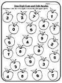 Apple Math One-Digit Even or Odd Activity Even and Odd Center Apple Math Centers