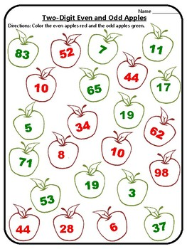 Apple Math One and Two-Digit Even or Odd Activity Odd or Even Apple Math Centers