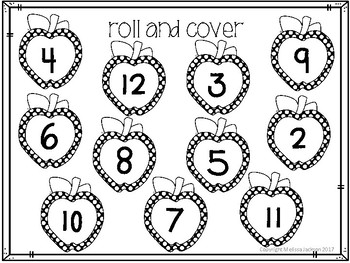 Apple Math Roll and Cover Game - 2 versions