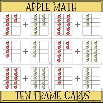 Apple Math Ten Frame Addition Scoot Game