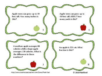 Apple Math Word Problem Task Cards