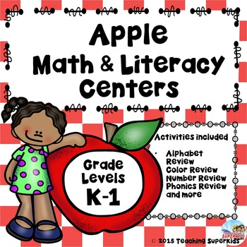 Apple Themed Math and Literacy Games