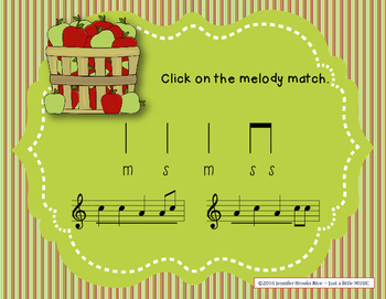 Apple Melodies - A stick to staff notation game for practicing sol & mi