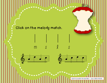 Apple Melodies - A stick to staff notation game for practicing sol mi la