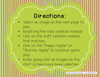 Apple Melodies - A stick to staff notation reading game {pentatonic}