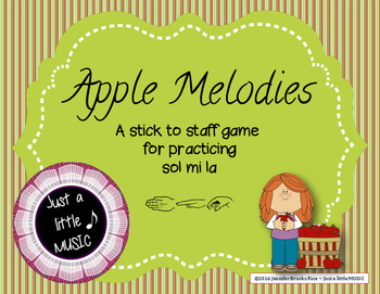 Apple Melodies - A stick to staff notation reading game {p