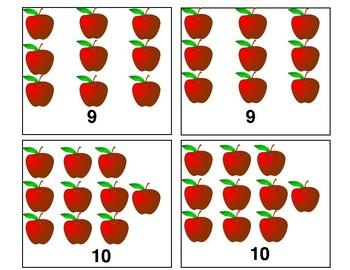 Apple Memory Game; Numbers 1-10