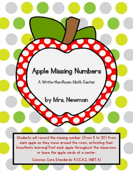 Apple Missing Numbers - A Write-the-Room Math Center