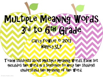 Apple Multiple Meaning Words- 3rd to 6th Grade Words
