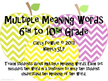 Apple Multiple Meaning Words- 6th to 9th Grade Words