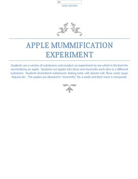 Apple Mummification (cell membrane osmosis) Lab