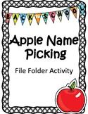 Apple Name Picking File Folder Activity (Back to School Activity)