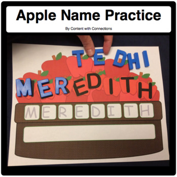 Apple Name Practice with Spots for Letter Magnets, Tracing, and Writing