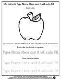 Apple - Name Tracing & Coloring Editable Sheet - #60CentFi