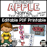 Apple Names; Name Building Practice Literacy Center, Easy Editable PDF
