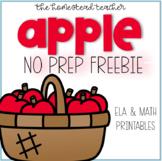 Apple No Prep Freebie