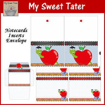 Apple Notecards and Envelope Printable