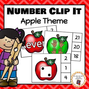 Apple Number (0-20) Clip It Cards