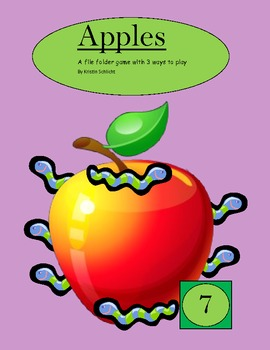 Apple Number 1-12 File Folder Matching Game