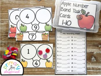 Apple Number Bond Task Cards 1-10 Center