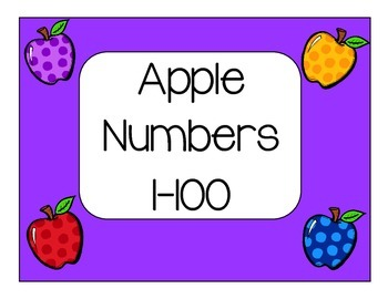 Apple Number Cards 1-100