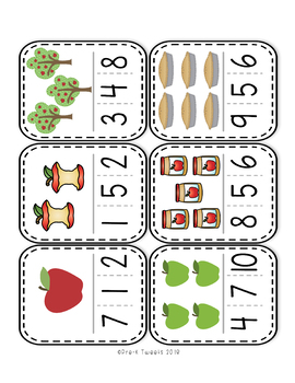 Apple Number Clip Cards