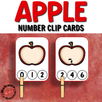 Apple Number Clip Cards for Math Centers
