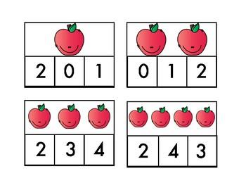 Apple Number Clip cards