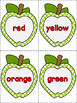 Apple Number & Color Word Flashcards