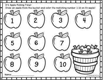 Apple Number Identification Math Center