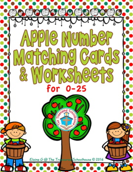 Apple Number Matching Cards and Worksheets for 0-25