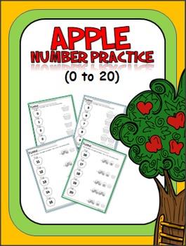 Apple Number Matching Worksheets (0-20)