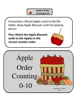 Apple Number Order 0-10: File Folder Activity