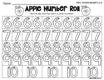 Apple Number Roll Numbers 6-10