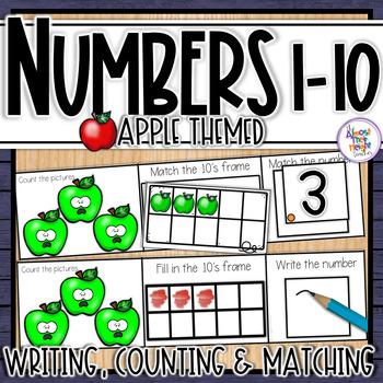 Apple Number Sense 1-10  counting, matching, reading & writing numbers 1-10