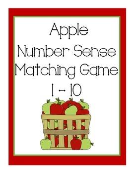 Apple Number Sense Matching Game 1-10