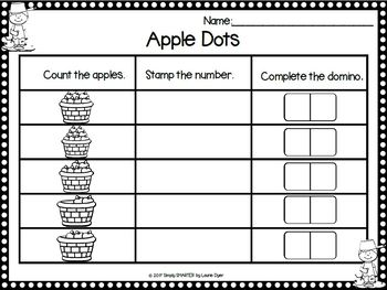 Apple Number Sense:  NO PREP Johnny Appleseed Math Rubber Stamping Activities