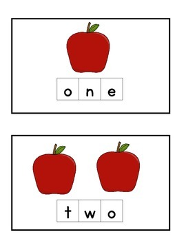 Apple Number Spelling Tiles