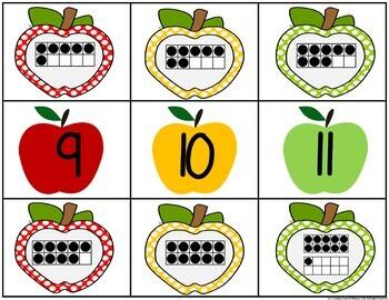 Apple 0-20 Number & Ten Frame Match Freebie