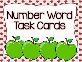 Apple Number Words Task Cards
