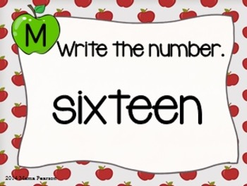 Apple Number Words Task Cards