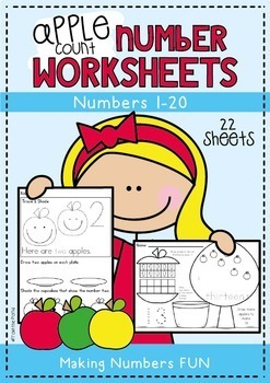 Apple Number Worksheet Activities for Numbers 1 to 20