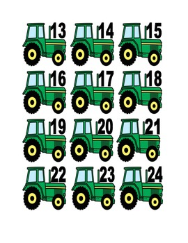 Tractor Numbers for Calendar or Math Activity