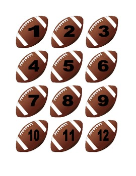 Football Numbers for Calendar or Math Activity